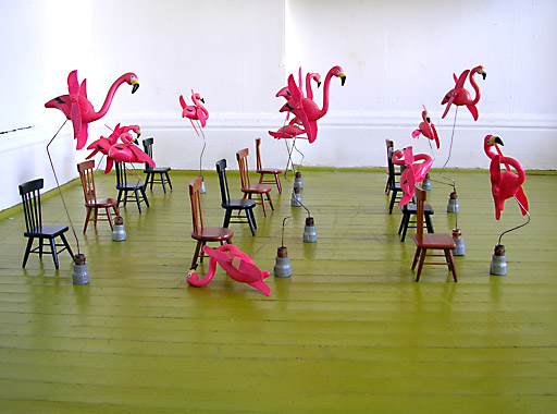 steve newberry art: pink flamingoes trying desperately to sit down